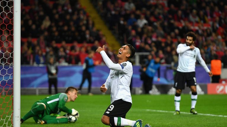 Roberto Firmino reacts to another missed chnace