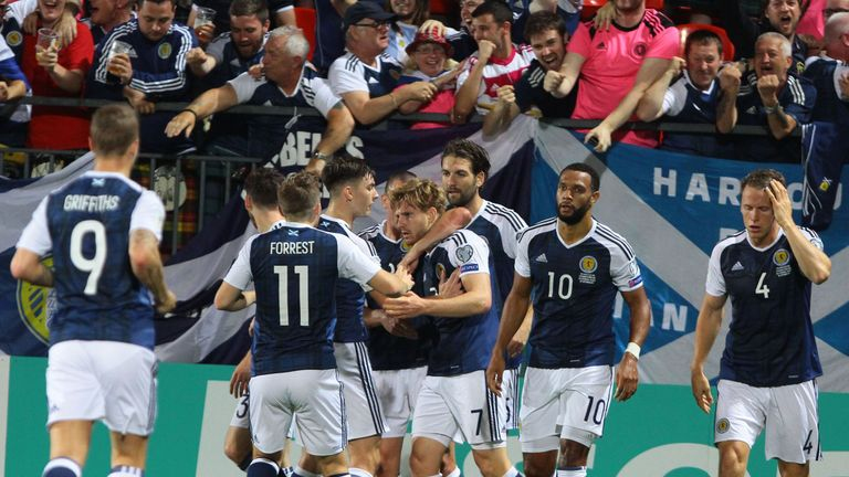 Stuart Armstrong says the Scotland squad are 'feeling positive' after Andy Robertson's Champions League win with Liverpool