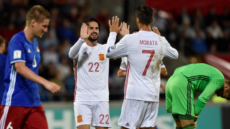 Spain cruised to an 8-0 victory against Lichtenstein on Tuesday
