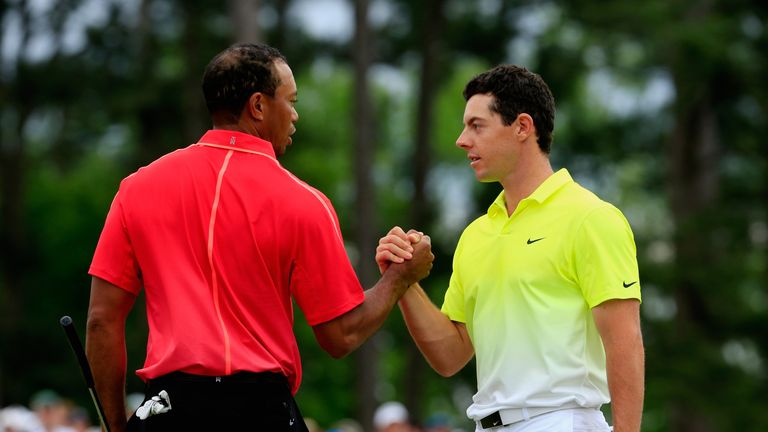 Tiger Woods and Rory McIlroy shake hands after the final round of the 2015 Masters