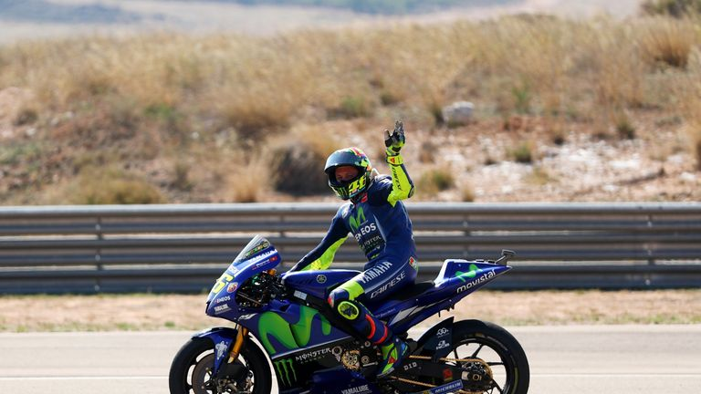 Valentino Rossi waves to the fans after completing Sunday's MotoGP of Aragon