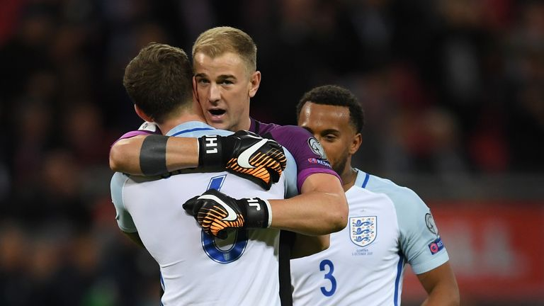 Joe Hart was in goal for England as they booked their spot in Russia with a win over Slovenia