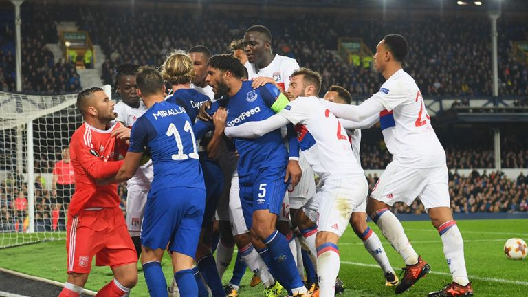Ashley Williams was at the centre of a brawl during the second half of Everton's clash with Lyon, with Anthony Lopes (L) saying he was struck by a fan