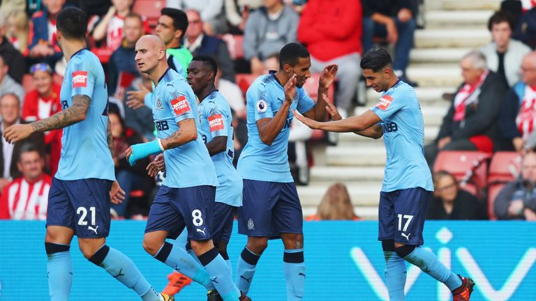 Ayoze Perez is congratulated after restoring Newcastle's lead