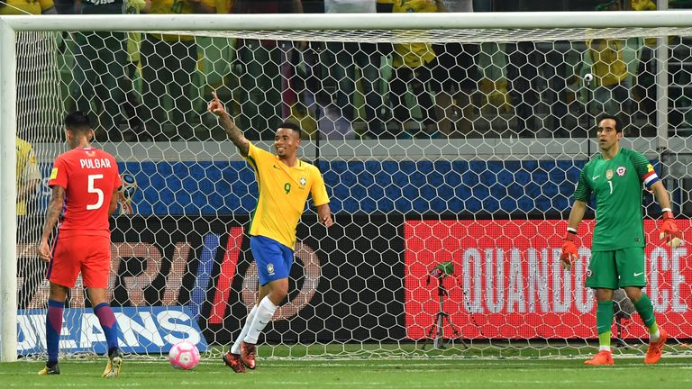 Chile were beaten 3-0 by Brazil thanks to two goals from Gabriel Jesus