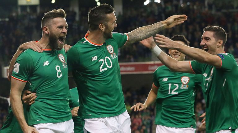 Daryl Murphy celebrates scoring the first goal of the match