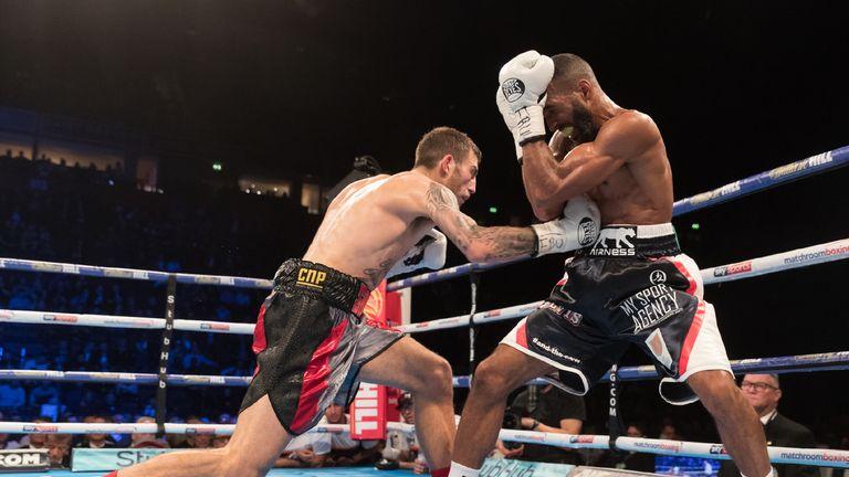 Sam Eggington applies pressure as Mohamed Mimoune tucks up
