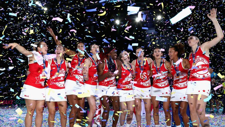 England celebrate winning the Fast5 World Series last month with victory over Jamaica
