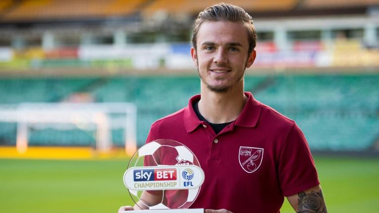 James Maddison won the Sky Bet Championship Goal of the Month for September