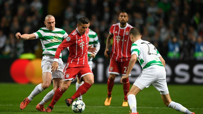 James Rodriguez takes on Scott Brown in an entertaining contest in Glasgow