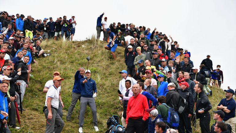 Jordan Spieth considers his options on the dramatic 13th hole at The Open
