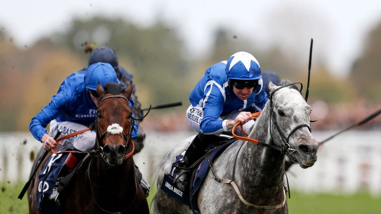 Robert Winston riding Librisa Breeze (R) wins the Qipco British Champions Sprint Stakes