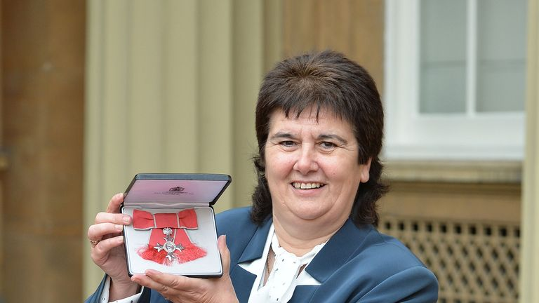 Former Wales football international Michele Adams with her MBE