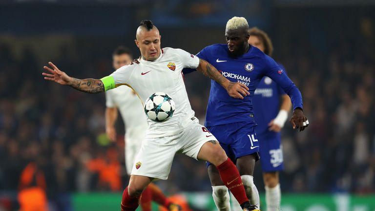 Bakayoko battles with Roma's Radja Nainggolan in the Champions League earlier this week