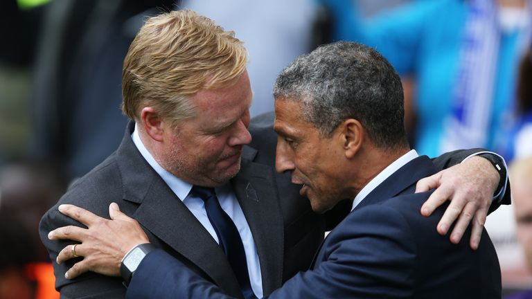 Chris Hughton embraces Ronald Koeman after Sunday's match