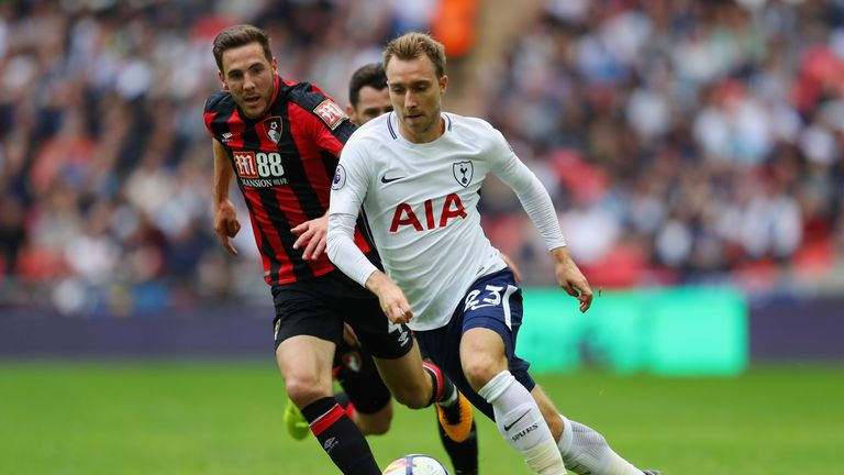 Christian Eriksen attempts to get past Dan Gosling