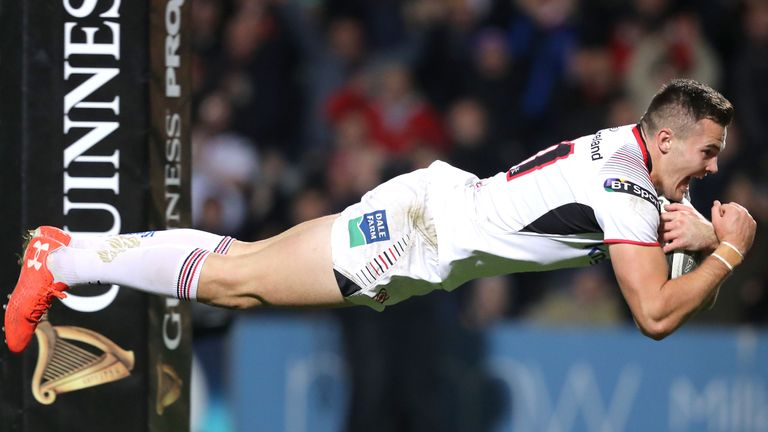 Jacob Stockdale has scored five tries in seven appearances for Ulster this season