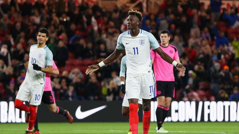 Tammy Abraham scored England's second goal from the spot at the Riverside Stadium