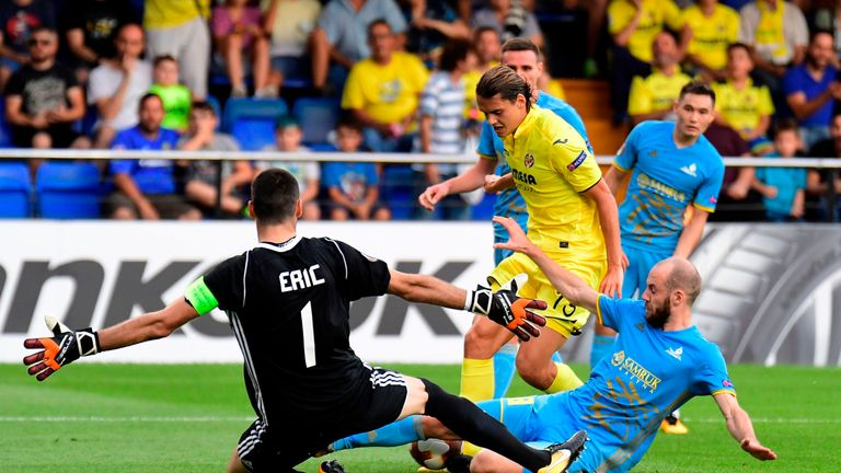 Former Manchester City youngster Enes Unal in action for Villarreal.