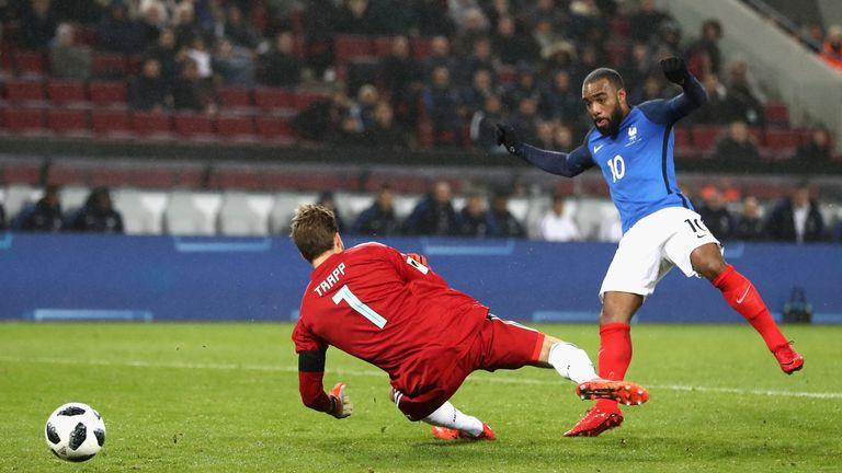 Lacazette scored two for France in their international friendly against Germany