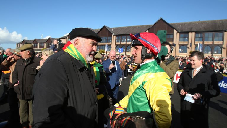Alan Potts speaks to Robbie Power at Punchestown earlier this year