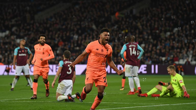 Alex Oxlade-Chamberlain scored his first Premier League goal for Liverpool in their victory over West Ham