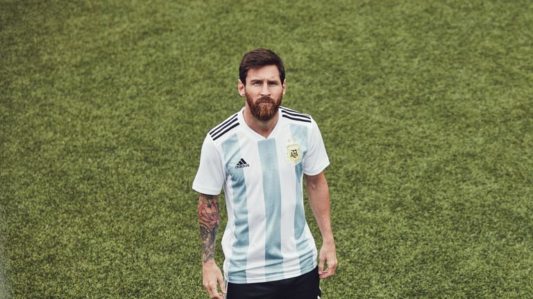Lionel Messi wears Argentina's World Cup home shirt