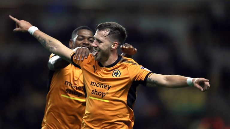 Wolverhampton Wanderers' Barry Douglas celebrates after opening the scoring against Leeds