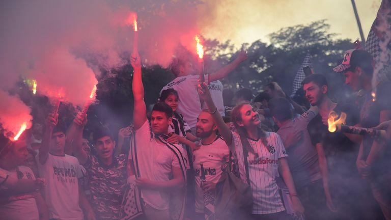 Besiktas' fans celebrate their 2016-17 Turkish Super Lig title