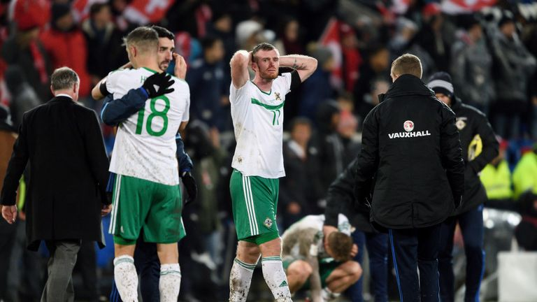 Chris Brunt reacts after Northern Ireland failed to qualify for the 2018 World Cup