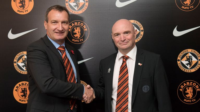 Dundee United's new manager Csaba Laszlo (left) with former chairman Stephen Thompson