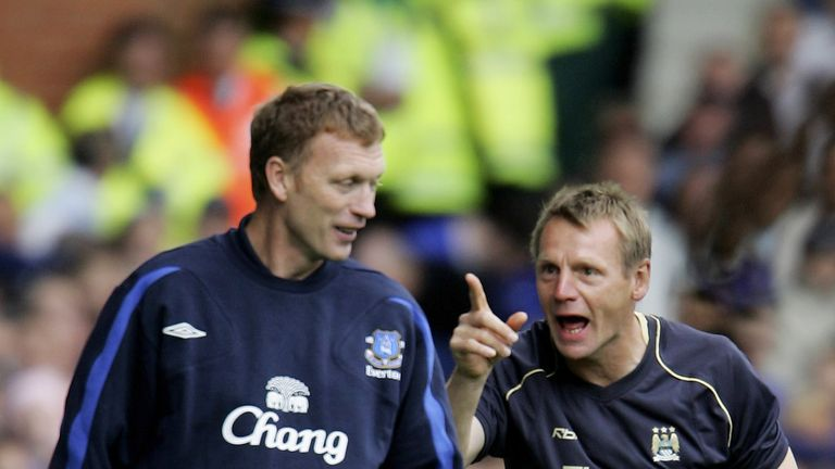 David Moyes and Stuart Pearce share a joke on the touchline back in 2006