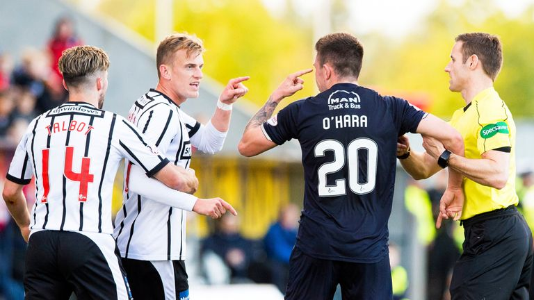 Falkirk striker Kevin O'Hara is serving an eight-match ban after taunting Shiels during a match in October