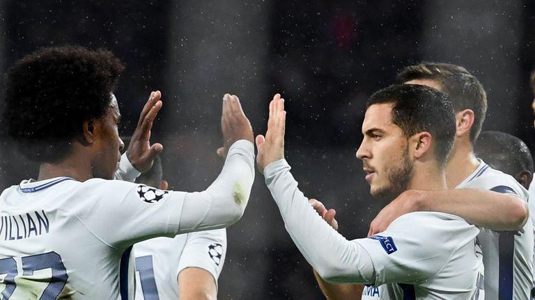 Eden Hazard scored from the spot after Willian won a first-half penalty