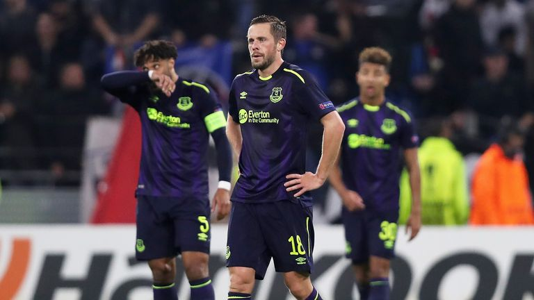 Everton players look dejected after Thursday's 3-0 loss to Lyon in the Europa League
