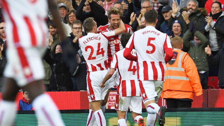 Substitute Peter Crouch (C) celebrates with team-mates after Stoke draw level