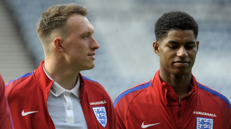 Man Utd duo Phil Jones and Marcus Rashford could start in England's friendly against Germany on Friday