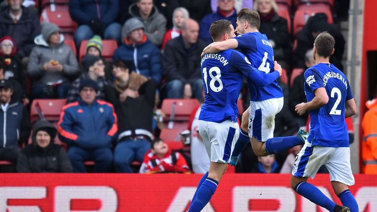 Gylfi Sigurdsson celebrates scoring his wonder goal just before half-time, the lone bright spot for Everton at St Mary's
