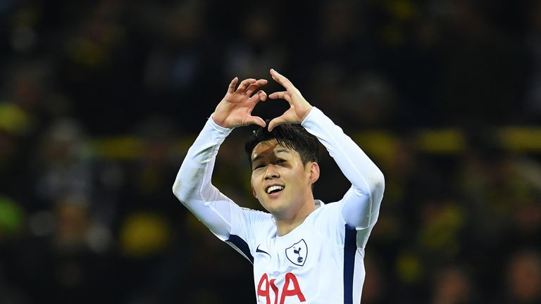 Heung-Min Son celebrates after giving Spurs the lead