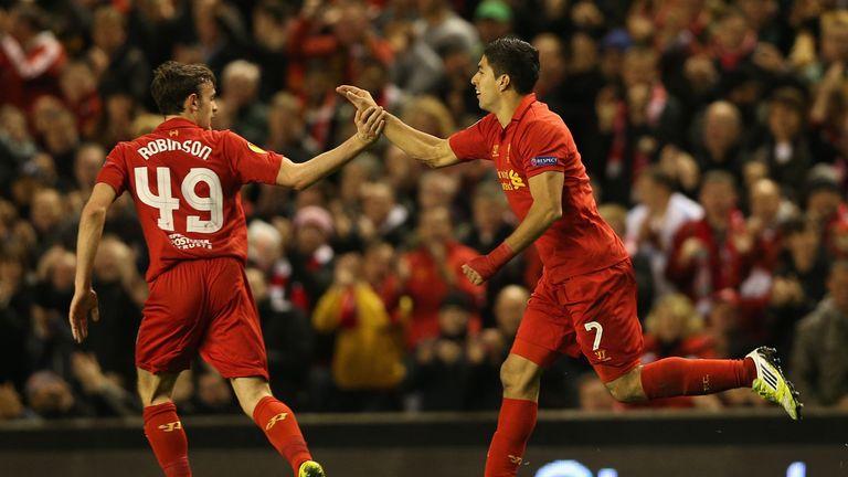 Jack Robinson celebrates with Luis Suarez