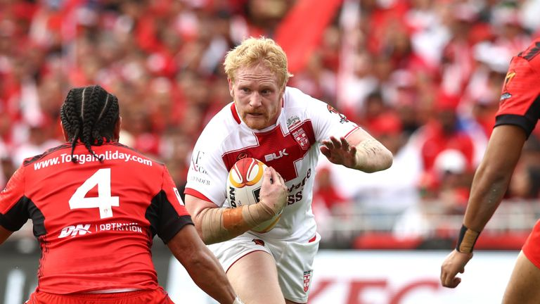 Englands's James Graham makes an attack against Tonga