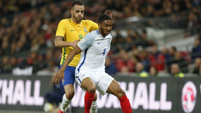 Joe Gomez in action for England against Brazil