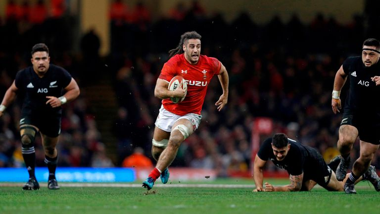 Wales' flanker Josh Navidi on the attack against New Zealand