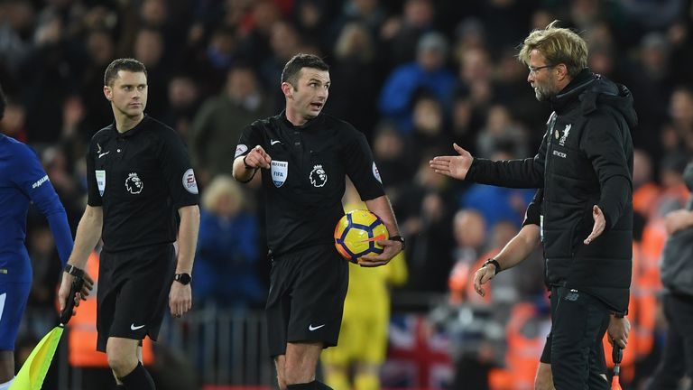 Liverpool boss Jurgen Klopp spoke with referee Michael Oliver after the game