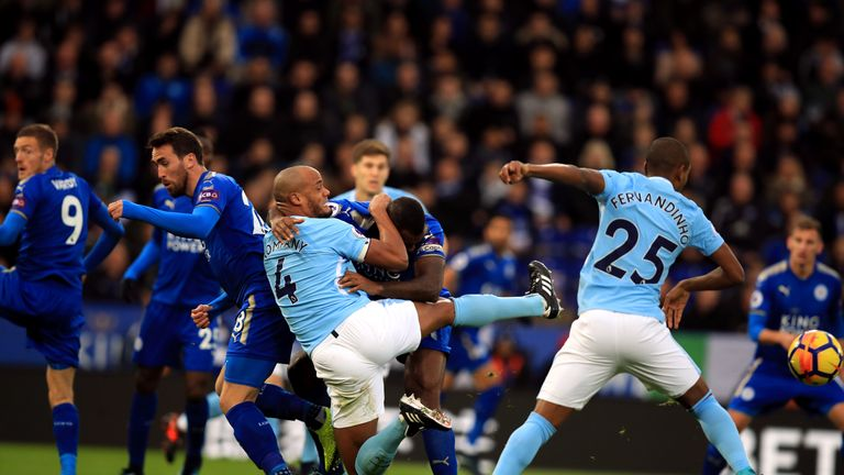 Vincent Kompany was back in action for City at Leicester