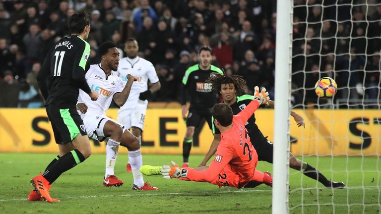 Leroy Fer missed a glorious chance to win the game late on for the Swans