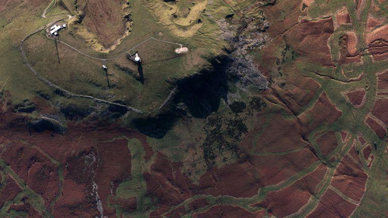 Huge letters spelling 'LFC' have been spotted on a Shropshire hillside (Credit: Ordnance Survey)