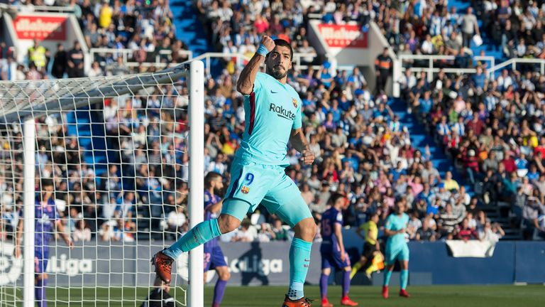 Luis Suarez netted twice during Barcelona's 3-0 win
