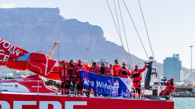 MAPFRE celebrate their victory on arrival in Cape Town