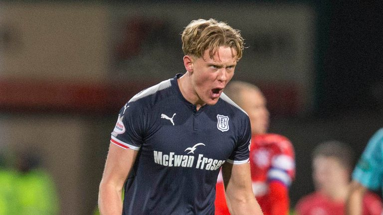 Dundee's Mark O'Hara celebrates scoring his side's first goal